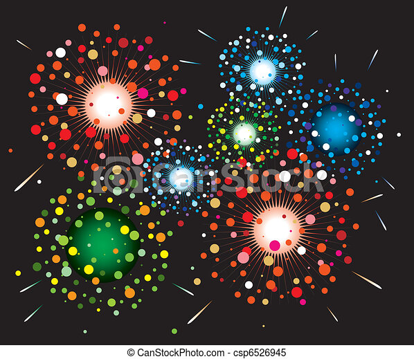 vector fireworks background - csp6526945