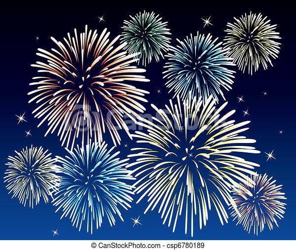 vector fireworks background  - csp6780189