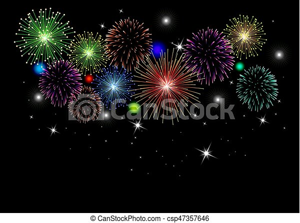vector fireworks background - csp47357646