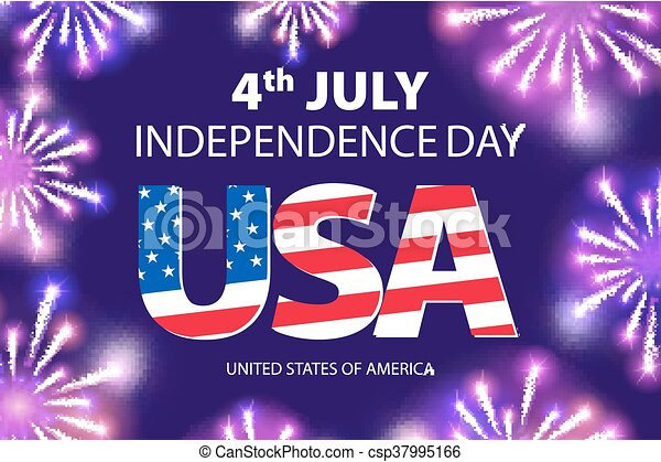 vector Fireworks background for 4th of July Independense Day. Fourth of July Independence Day card. Independence day fireworks. Independence day celebrate. Independence Day . USA Independence Day vector - csp37995166