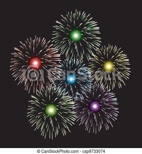vector fireworks - csp9733074