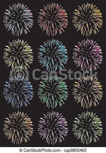 vector fireworks  - csp9805463