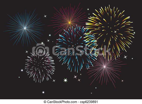 vector fireworks - csp6239891