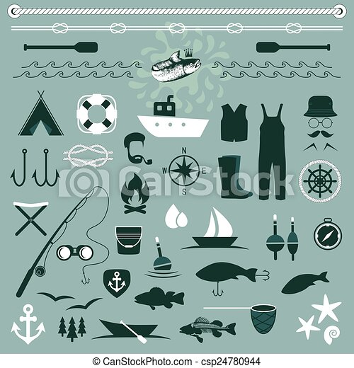 vector fish set icons, - csp24780944