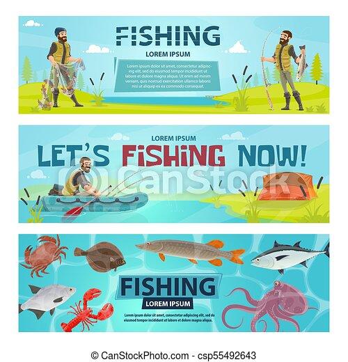 Vector fisherman sport fishing vector banners - csp55492643