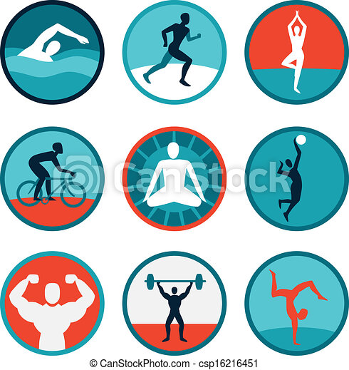 vector fitness icons and signs jogging swimming rh canstockphoto com clip art construction clip art construction tools