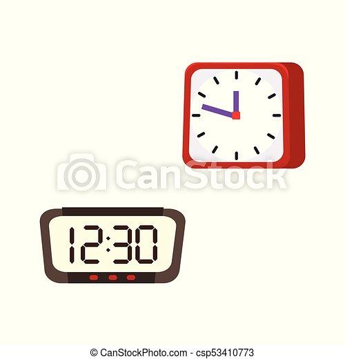 vector flat analog, digital table clock icon