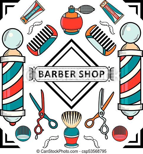 vector flat barber shop poster with tools icon vector flat eps rh canstockphoto com barber shop clipart free barber shop chair clipart