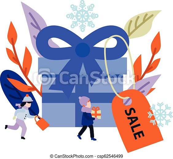 Vector Flat Boy Kid With Present Gift Boxes