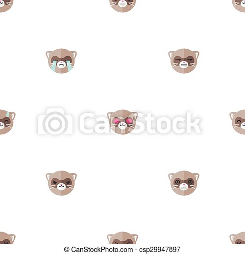 Vector flat cartoon ferret heads with different emotions seamless pattern. Animal emoticons background. - csp29947897