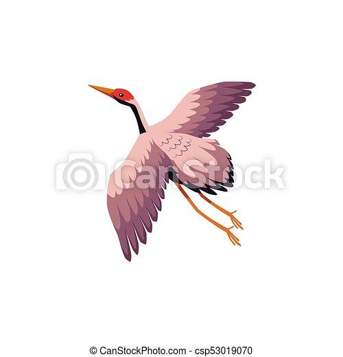 vector flat cartoon japan crane flapping wings