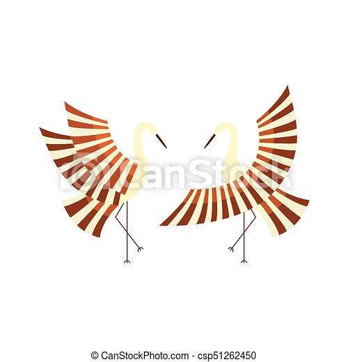 vector flat cartoon japan cranes flapping wings