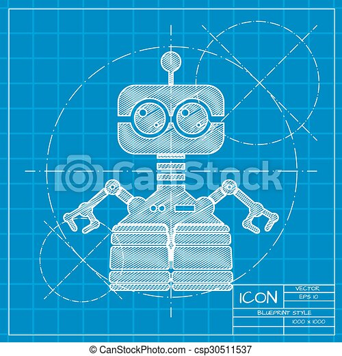 Vector flat color robot toy vector blueprint retro robot vector flat color robot toy malvernweather Images