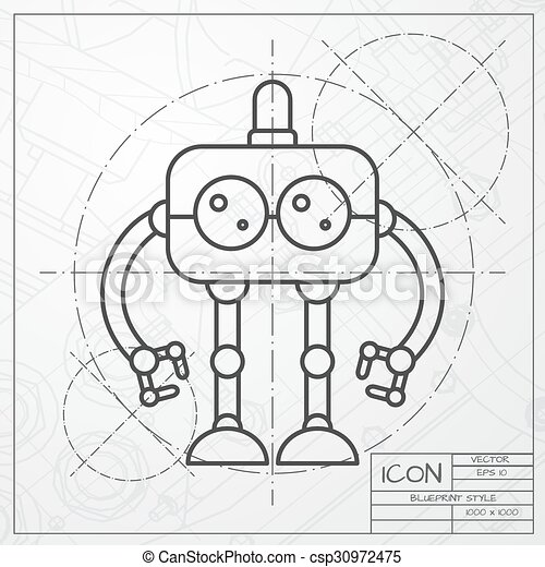 Vector flat color robot toy vector classic blueprint of vectors vector flat color robot toy malvernweather Images