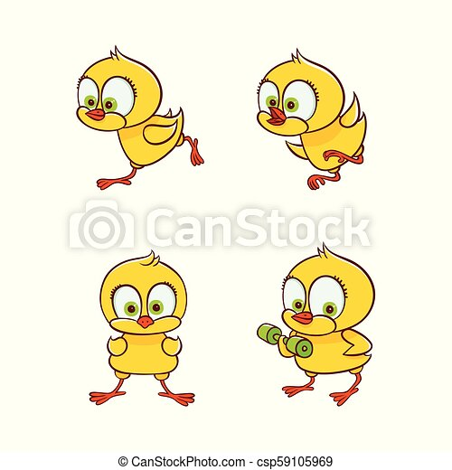 Vector Flat Cute Chicken Chick Set