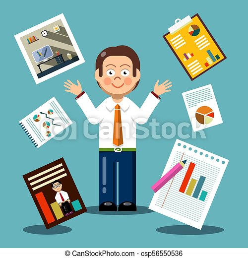 Vector Flat Design Businessman with Graphs on Papers - csp56550536