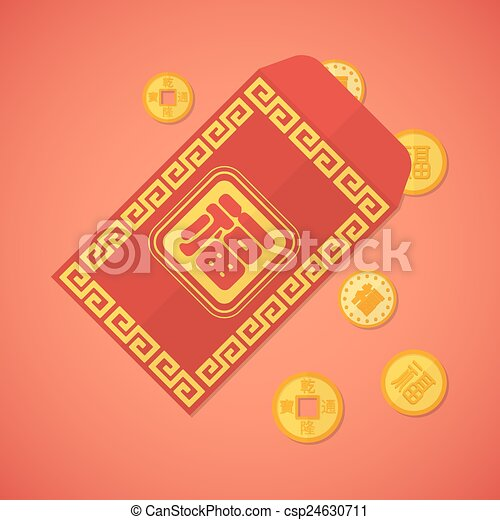 vector flat design chinese new year red envelope with coins