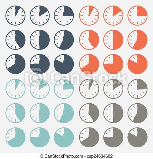 Vector Flat Design Clock Set - csp24634602