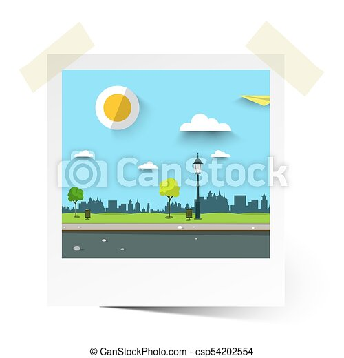 Vector Flat Design Empty Park Illustration. Landscape in Photo Frame. - csp54202554