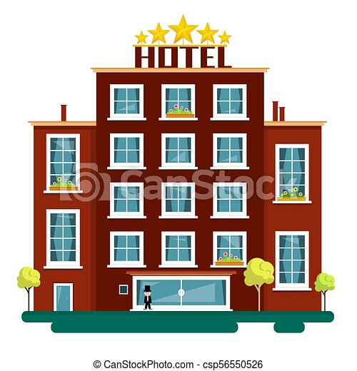 Vector Flat Design Hotel Illustration Isolated on White Background. Hotels. - csp56550526