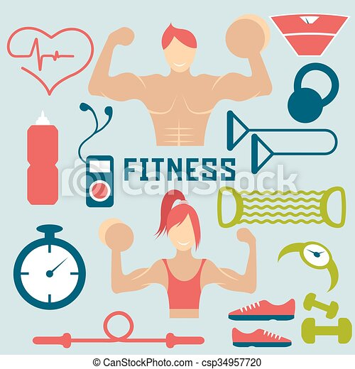 Vector flat design of fitness with guy ,girl and web icons of fitness elements - csp34957720