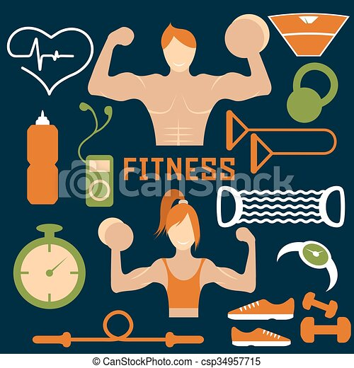 Vector flat design of fitness with guy ,girl and web icons of fitness elements - csp34957715