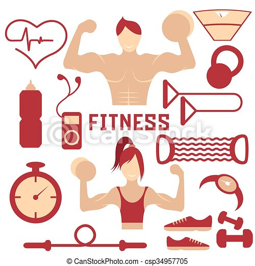Vector flat design of fitness with guy ,girl and web icons of fitness elements - csp34957705
