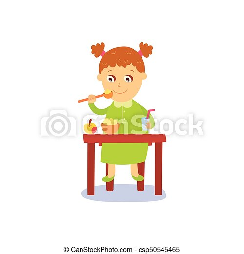 Pleasing Vector Flat Girl Eats Apple And Porridge Gmtry Best Dining Table And Chair Ideas Images Gmtryco