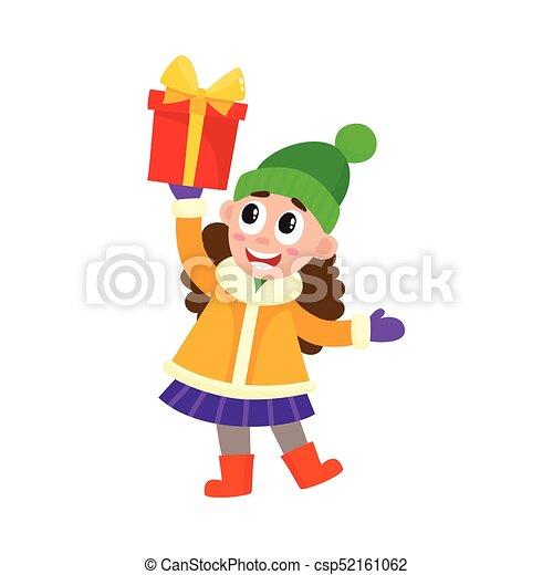 vector flat girl holding present box - csp52161062