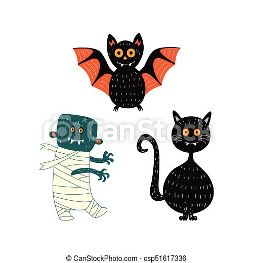 Vector Flat Halloween Symbols Set Vector Flat Cartoon Halloween