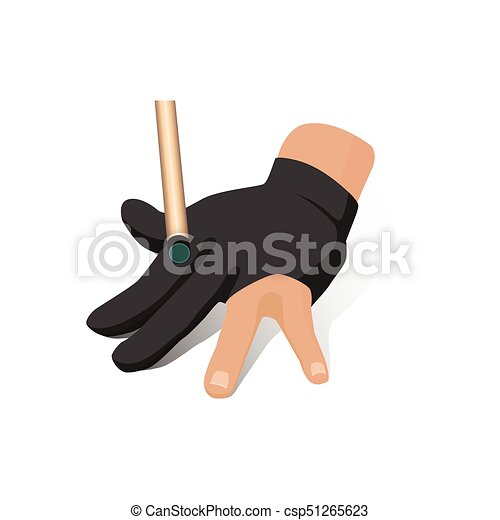 Vector Flat Hand In Billiard Glove With Cue Stick Vector