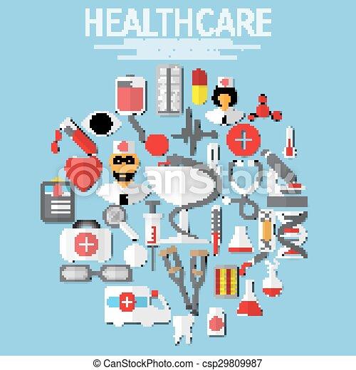 Vector flat health care - csp29809987