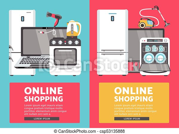 Vector Flat Home Appliance Sale Icon Set Vector Online Shopping