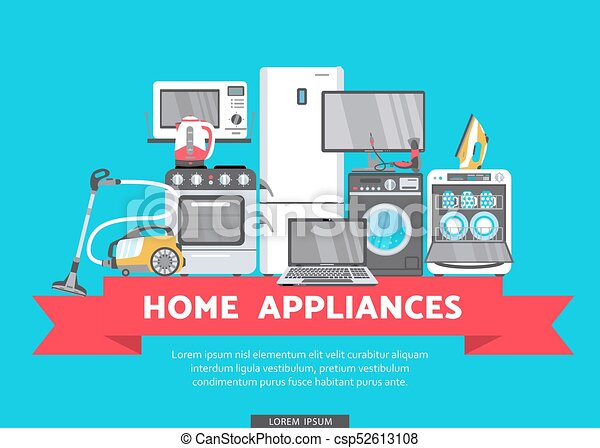 Vector Flat Home Appliance Sale Icon Vector Online Shopping Advertising Poster Banner Design Gas Stove Dishwasher Washing