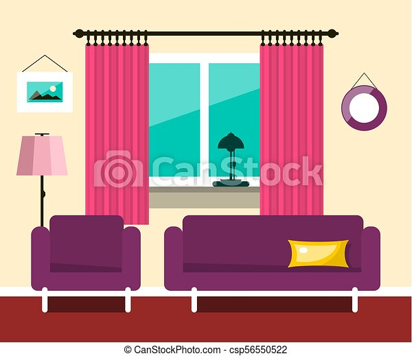 Vector Flat Hotel Room Interior Design - csp56550522