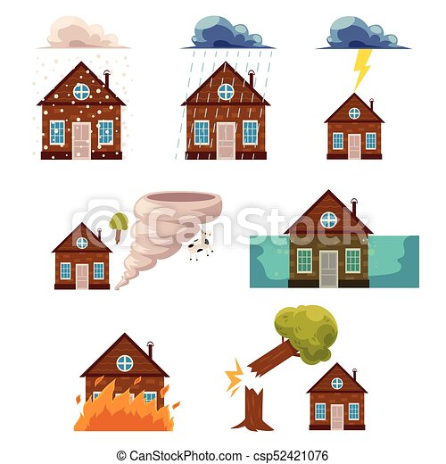 vector flat house insurance concepts set house being vectors rh canstockphoto ca home vector house vector file