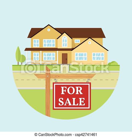 Vector flat icon suburban american house. - csp42741461