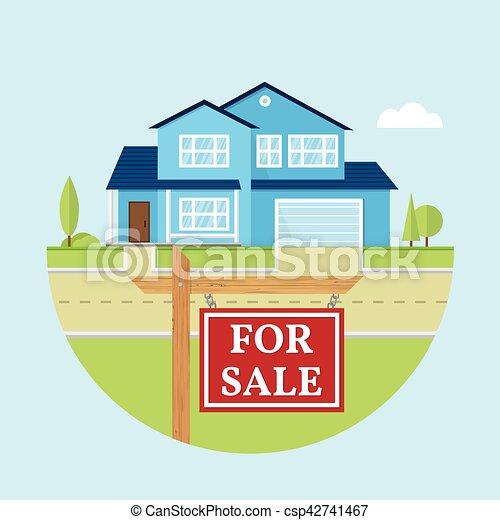 Vector flat icon suburban american house. - csp42741467