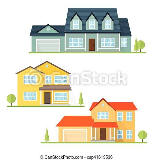 Vector flat icon suburban american house. - csp41613536