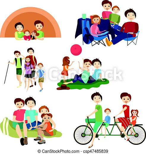 Vector Flat Icons Set Of Family Characters Camping Hiking Summer Outdoors Vacation Weekend Symbols Isolated On White Background