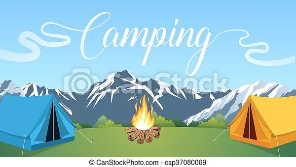 Vector flat illustration camping. - csp37080069