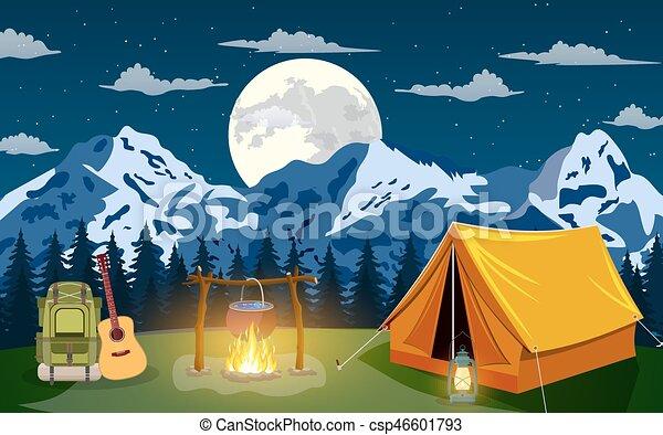 Vector flat illustration camping. - csp46601793