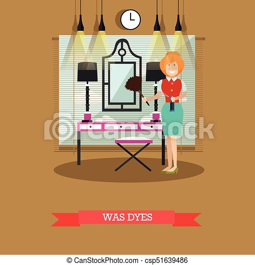 Vector Flat Illustration Of Cleaning Woman Dusting Mirror Vector Stunning Best Way To Dust Furniture Concept