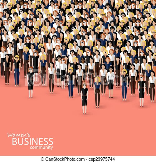 vector flat illustration of women business community. a crowd of - csp23975744