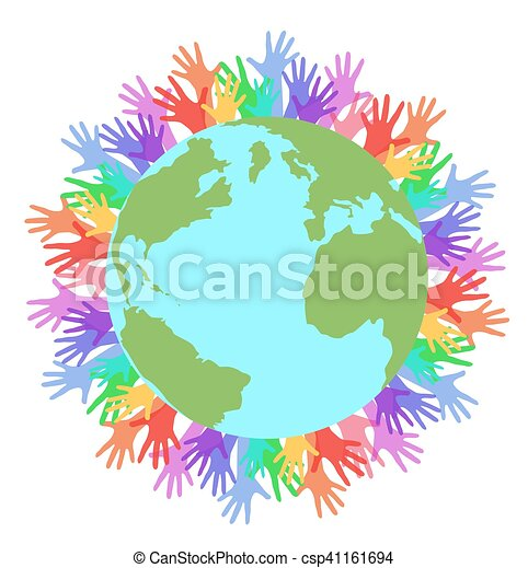 Vector flat illustration planet earth and rainbow hands of people - csp41161694