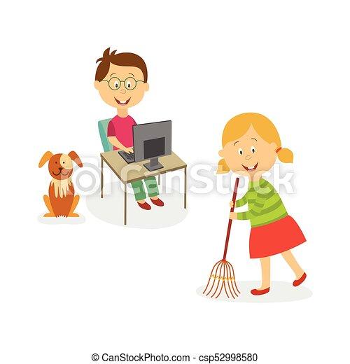 vector flat kids doing household chores set