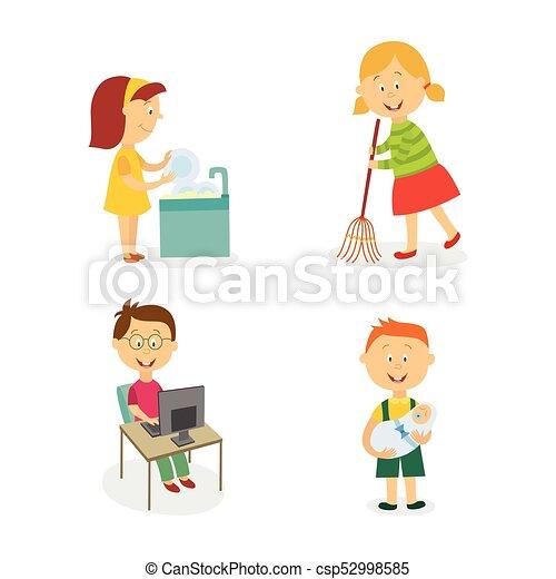Vector Flat Kids Doing Household Chores Set Vecotr Flat