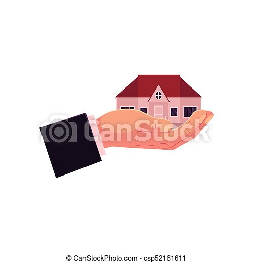 vector flat man hand gholding new house, home - csp52161611