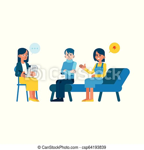 Vector Flat Mental Therapy Session Crying Woman Vector Family