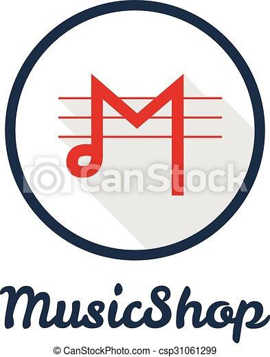 Vector flat modern minimalistic music shop or studio logo  - csp31061299